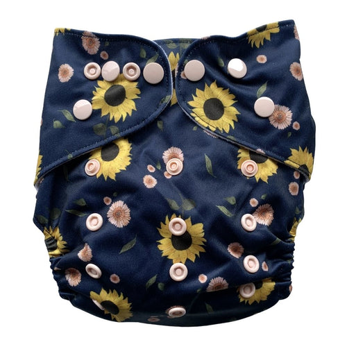 Sunflowers Cloth Nappy | Bear & Moo | Bear and Moo | Hamilton, New Zealand | cloth nappy | reusable nappies | modern cloth nappies | solid colour | environmentally friendly | save money | good for the environment | alternative to disposables | sustainable living | waste free | Sunflowers Cloth Nappy