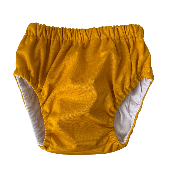 Mustard Training Nappy | Bear & Moo | Bear and Moo | Hamilton, New Zealand | cloth nappy | reusable pull up nappy | modern cloth nappies | environmentally friendly | save money | suede | good for the environment | alternative to disposables | sustainable living | waste free | Mustard Training Nappy