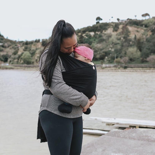 Oohbubs Babywearing Wrap Black | Bear & Moo | Bear and Moo | Hamilton, New Zealand | stretchy wrap | babywear | carry baby | cloth nappies | environmentally friendly | save money | good for the environment | sustainable living | waste free | Oohbubs Babywearing Wrap Black