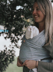 Oohbubs Babywearing Wrap Grey Marle | Bear & Moo | Bear and Moo | Hamilton, New Zealand | stretchy wrap | babywear | carry baby | cloth nappies | environmentally friendly | save money | good for the environment | sustainable living | waste free | Oohbubs Babywearing Wrap Grey Marle
