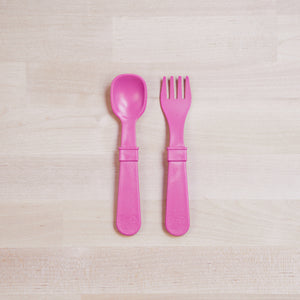Re-Play Utensil Set | Bear & Moo | Bear and Moo | Hamilton, New Zealand | spoon | fork | cutlery | feed baby | baby food | tableware | dinner | recycled plastic | reusable | cloth nappies | environmentally friendly | save money | good for the environment | sustainable living | waste free | Re-Play Utensil Set