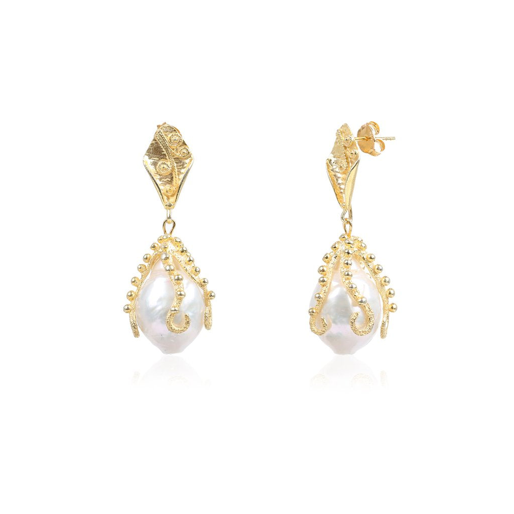 Tentacle Baroque Pearl Earrings