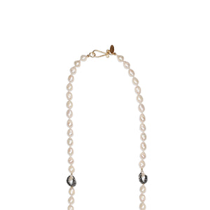 Long Pearl Necklace / Baroque & Hematite