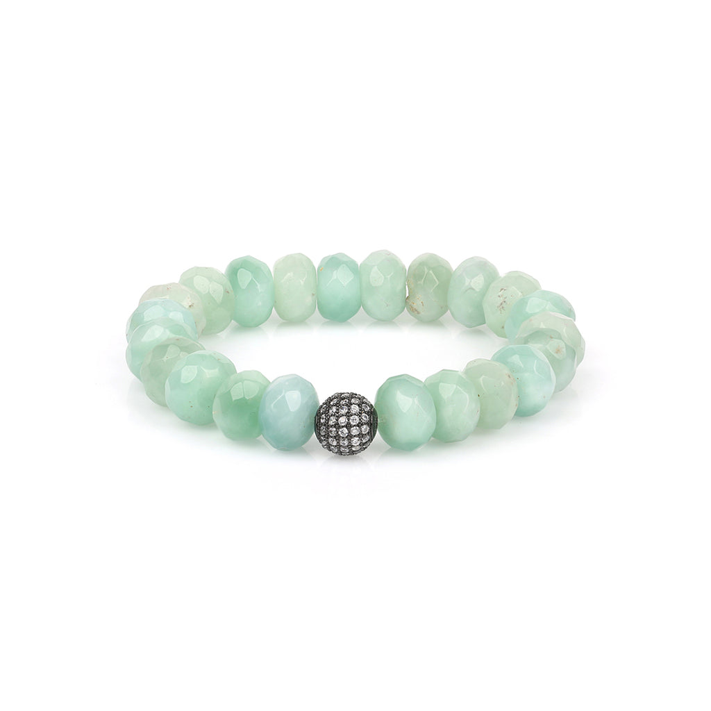 Pave Ball Amazonite, Rose Quartz Bracelet