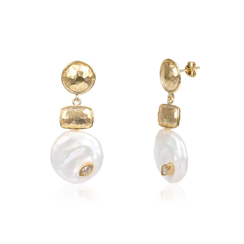 Gold Coin Mother Of Pearl Earring