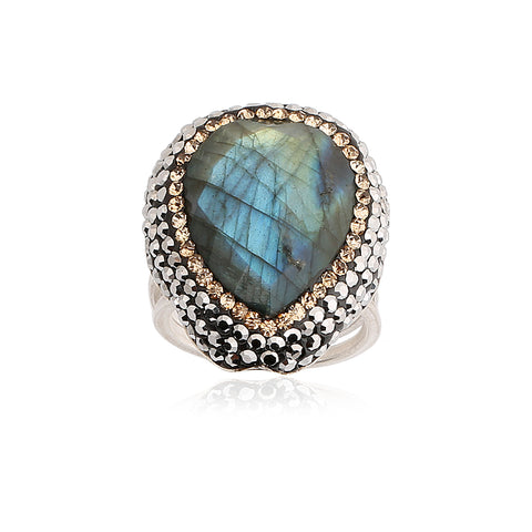 Labradorite Drop Ring