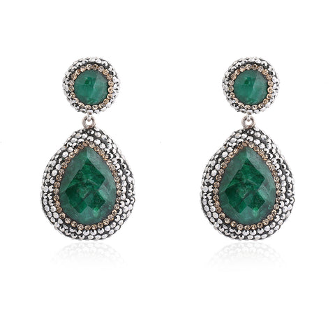 Double Drop Emerald Earring