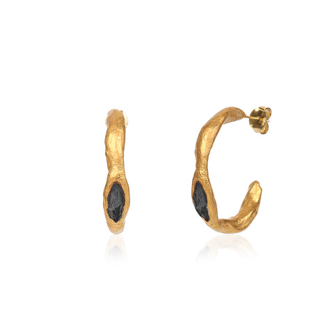 Black & Gold Hoop Earring