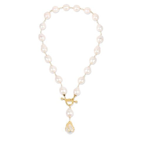Large Baroque Pearl Y Necklace