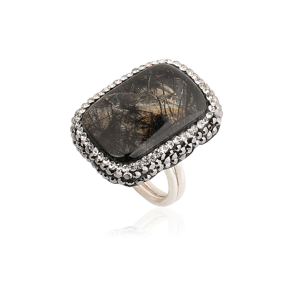 Rutile Quartz Rectangle Ring