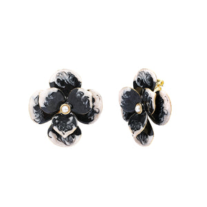 Shadow Enamel Flower Earring
