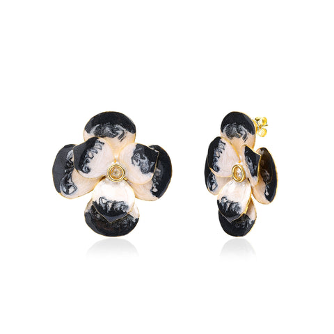 Duo Black & White Enamel Earring