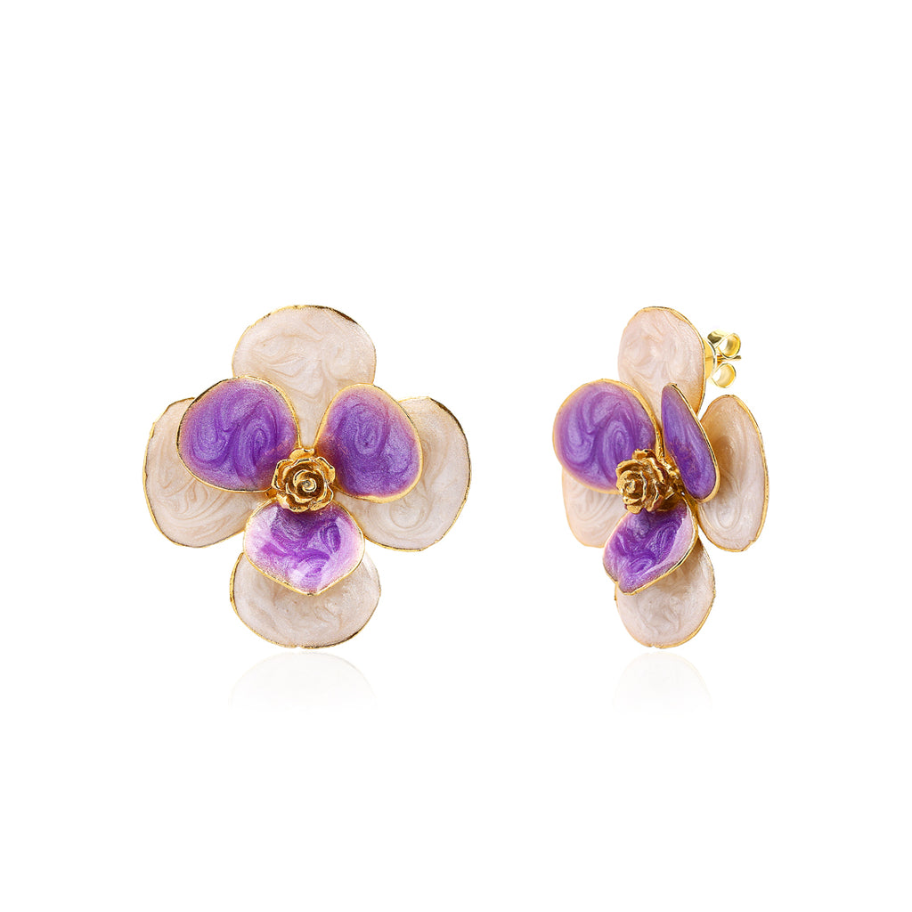Duo Enamel Flower Earring