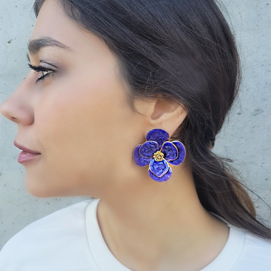 Duo Purple Enamel Earring