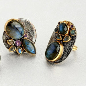Labradorite & Amethyst Statement Ring