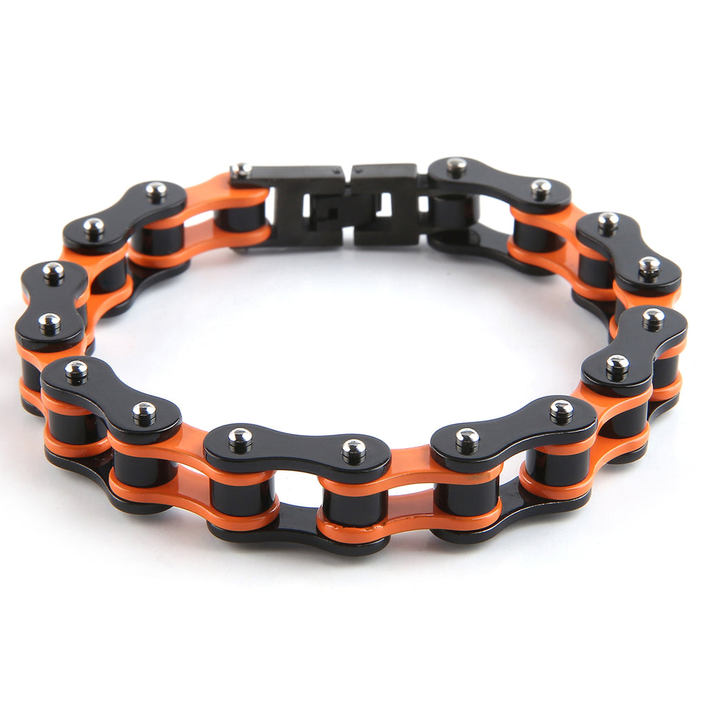 Dakata Bike Chain Bracelet Orange and Black by Mad Style Wholesale