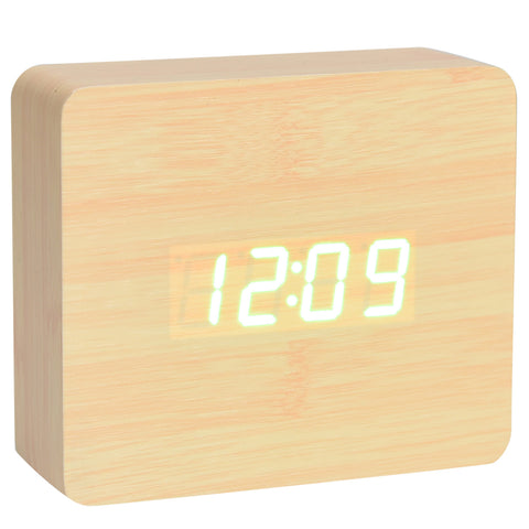 Square Wood Digital Desk Clock