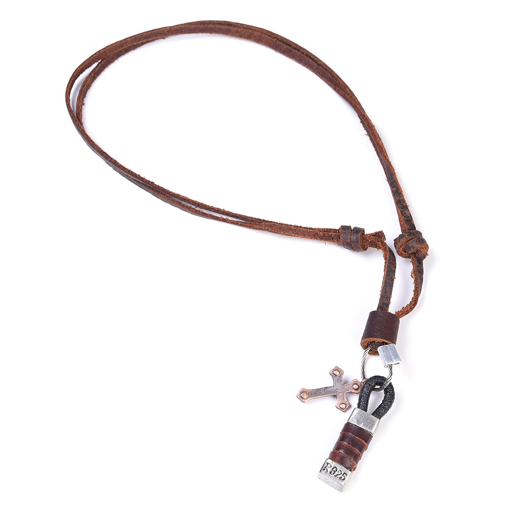 Leather Blessed Loop & Hook Necklace