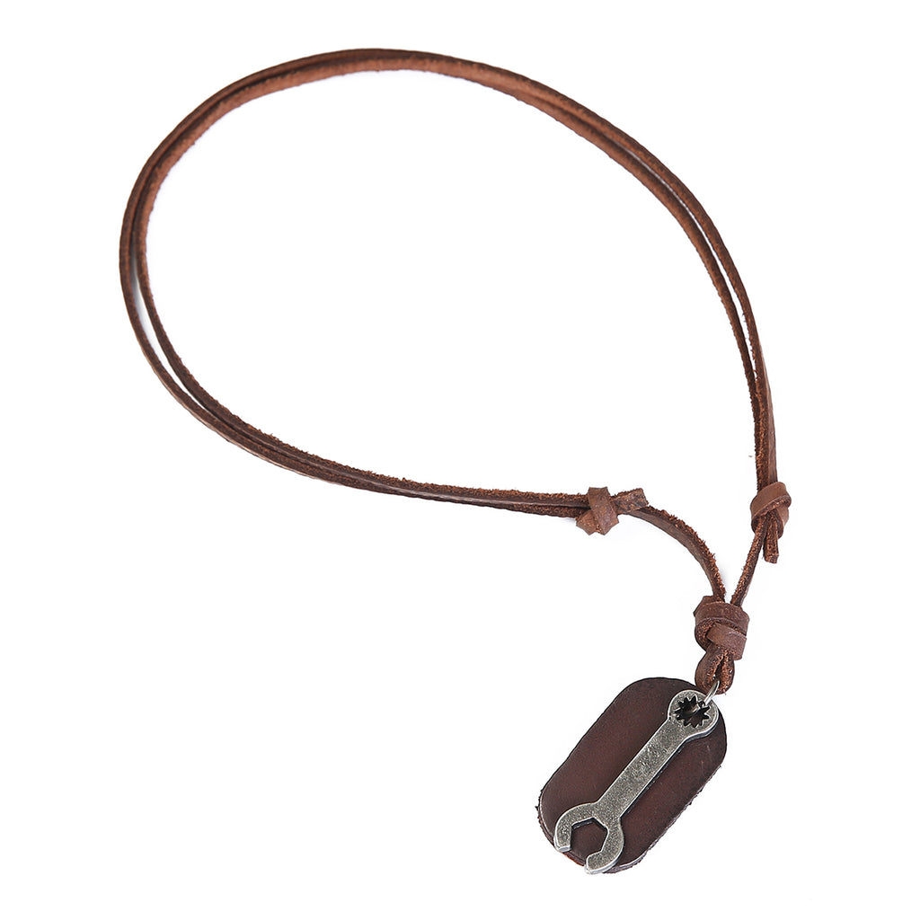 Leather Combo Wrench Necklace