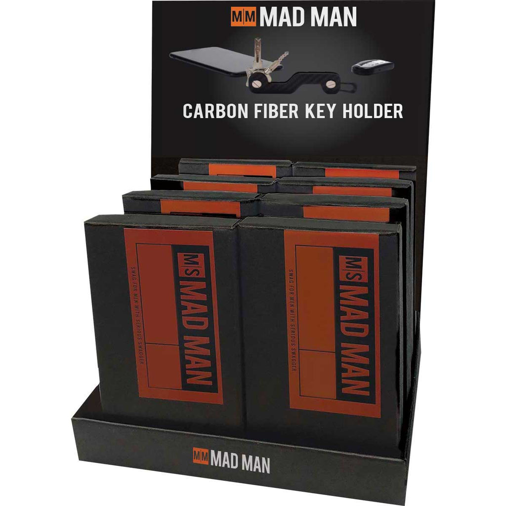 12 Piece Carbon Fiber Key Holder Profit Pak Display - Mad Man by Mad Style Wholesale