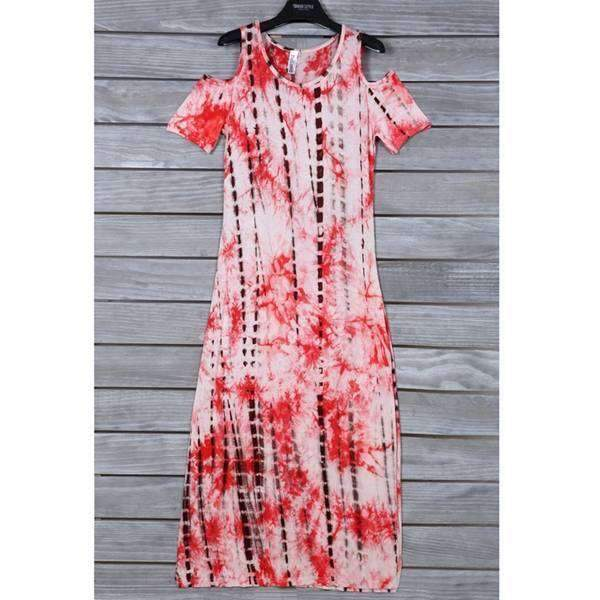 Cold Shoulder Tie Dye Dress,Dresses,Mad Style, by Mad Style