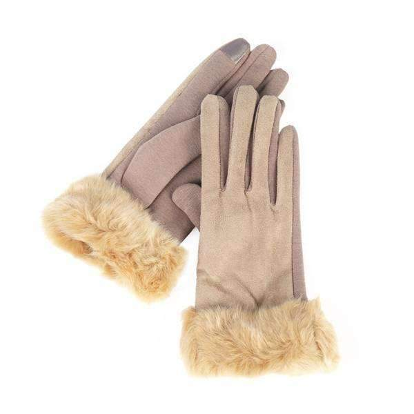 Faux Suede And Fur Texting Gloves