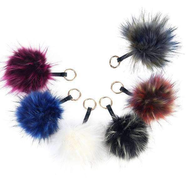 Fur Pom Pom Key Chain Fascinator,Key Chains and Fobs,Elly, by Mad Style