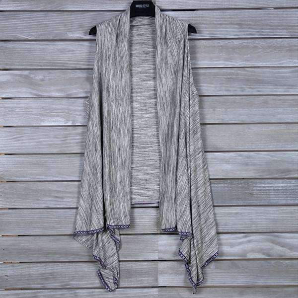 Heather Grey Knit Vest With Tribal Trim,Outerwear,Mad Style, by Mad Style