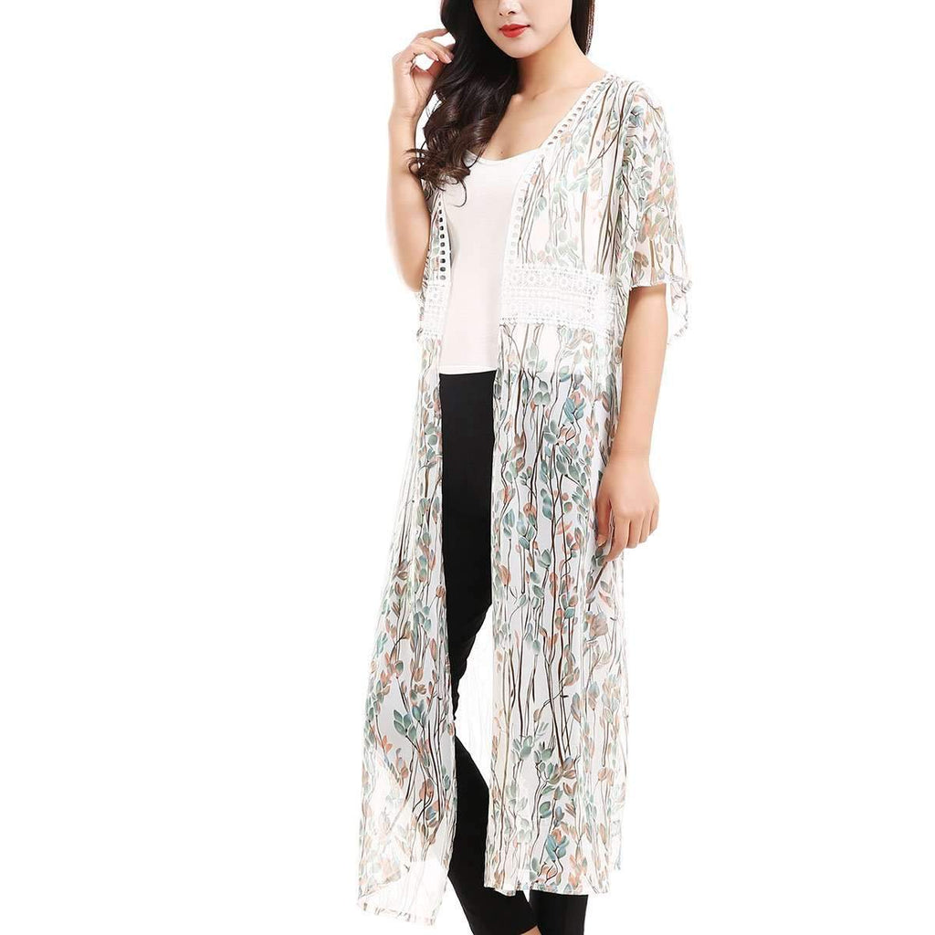 Lace Trimmed Kimono,Outerwear,Mad Style, by Mad Style