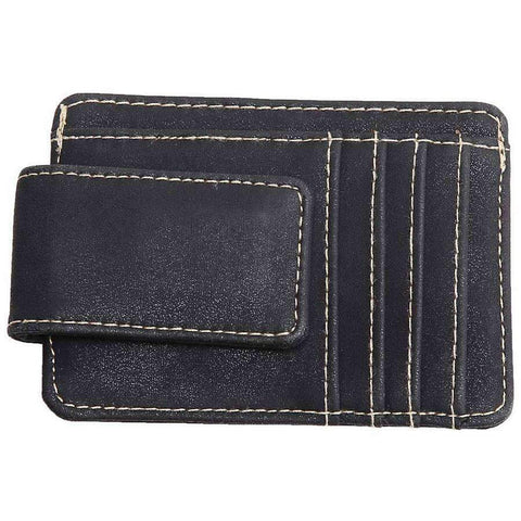 Leather Money Clip With Card Slots And Bill Holder
