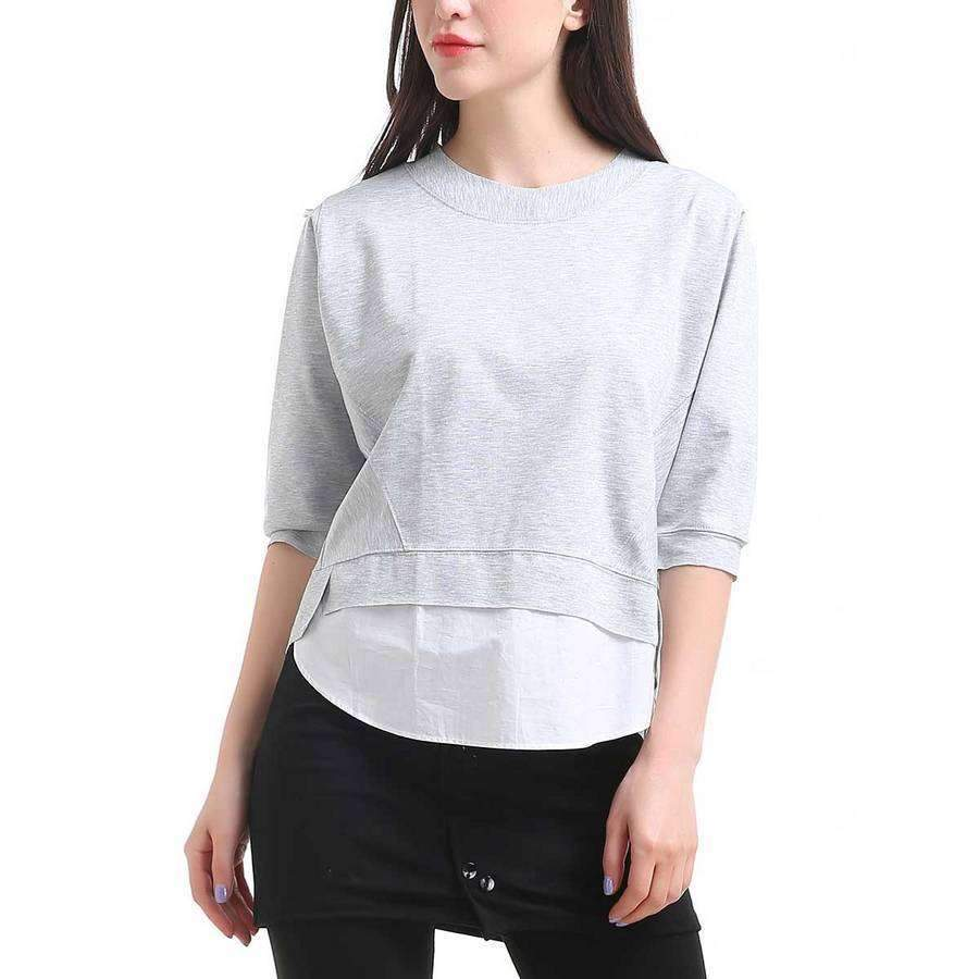 Sweatshirt With Shirting Hem,Outerwear,Mad Style, by Mad Style