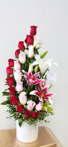 JF129-  Red & Pink Roses Arrangement