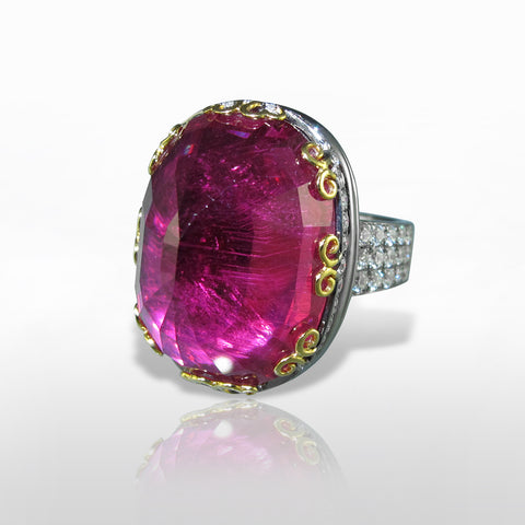 Rubellite Tourmaline & Diamond Ring by Marina D