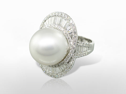 Fine Natural South Sea Pearl & Diamond Ring SKU 003-15010