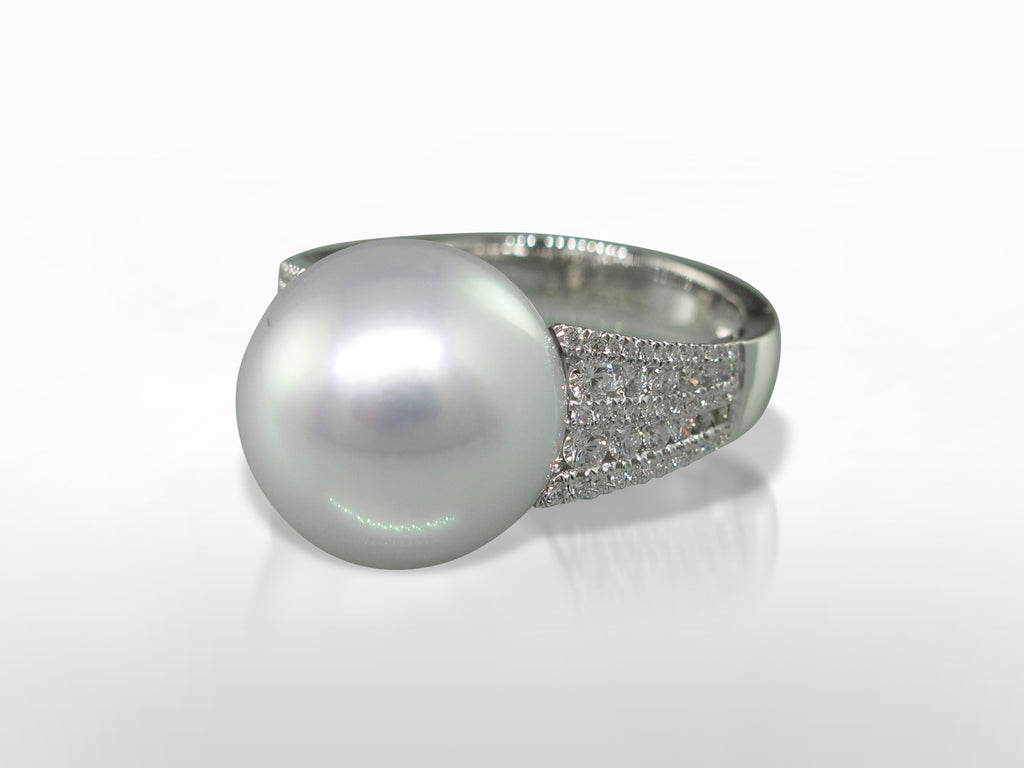 White South Sea Pearl & Diamond Ring SKU 003-15012