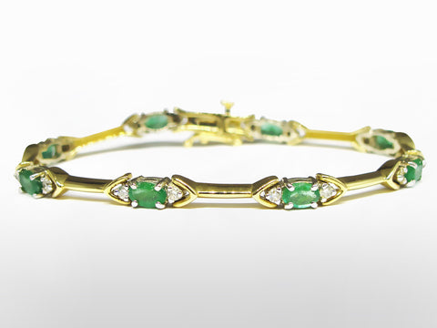 SKU 003-17233 - 14K Emerald & Diamond Bracelet