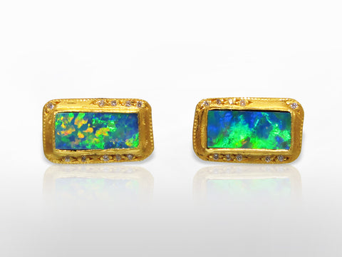 SKU 173-126 - Yellow Gold & Diamond Black Opal Earrings by Kurtulan