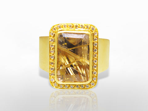 SKU 173-130 -Yellow Gold, Diamond & Golden Rutilated Quartz Ring by Kurtulan