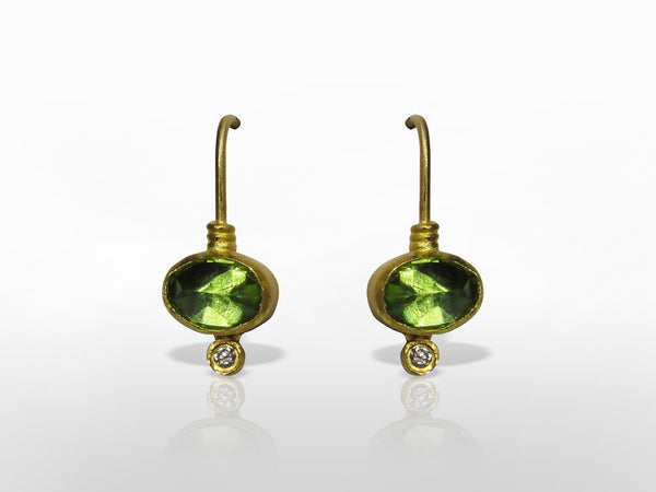 SKU 173-131 - Yellow Gold Diamonds & Peridot Earrings by Kurtulan