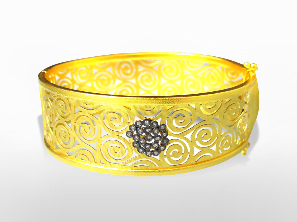 Yellow Gold, Silver, and Diamond Bangle by Kurtulan