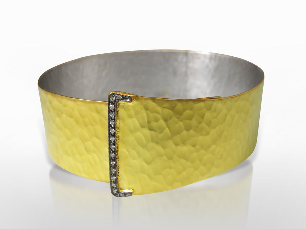 Gold, Silver, and Diamond Hammered Finish Buckle Bangle by Kurtulan