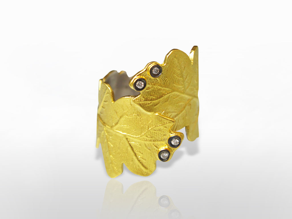 Yellow Gold, Silver, and Diamond Leaf Ring by Kurtulan