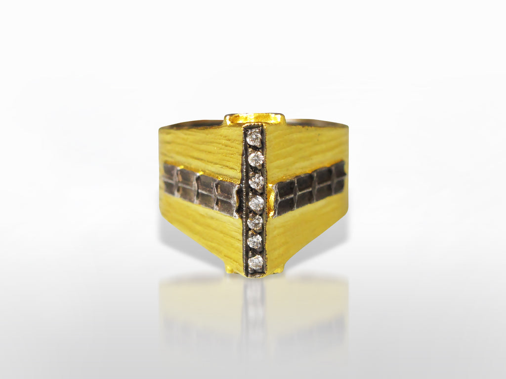 Yellow Gold, Silver, and Diamond Ring by Kurtulan