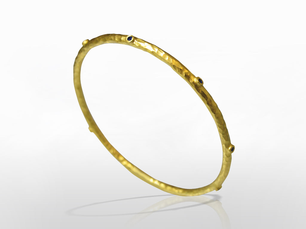 SKU 173-181 - Yellow Gold Blue Sapphire Bangle by Kurtulan
