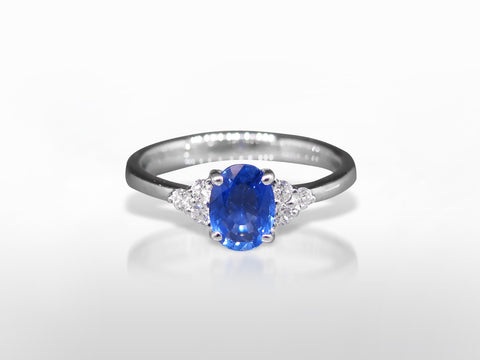 SKU 273-15590 - 18K Natural Blue Sapphire & Diamond Ring