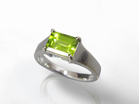 SKU 274-15710 - 18K White Gold Peridot Ring
