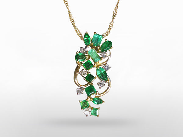 18K Emerald & Diamond Pendant SKU 280-15221