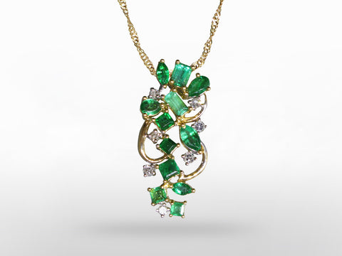 SKU 280-15221 - 18K Emerald & Diamond Pendant