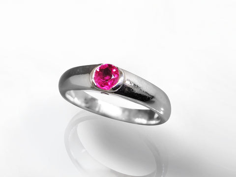 SKU 280-15315 - 14K White Gold Ruby & Diamond Ring