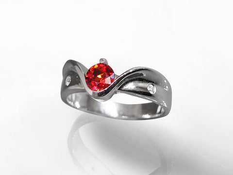 SKU 280-15321 - 14K White Gold Orange Sapphire & Diamond Ring
